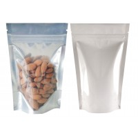 40g Clear / White Shiny Stand Up Pouch/Bag with Zip Lock [SP1] White Shiny Pouches
